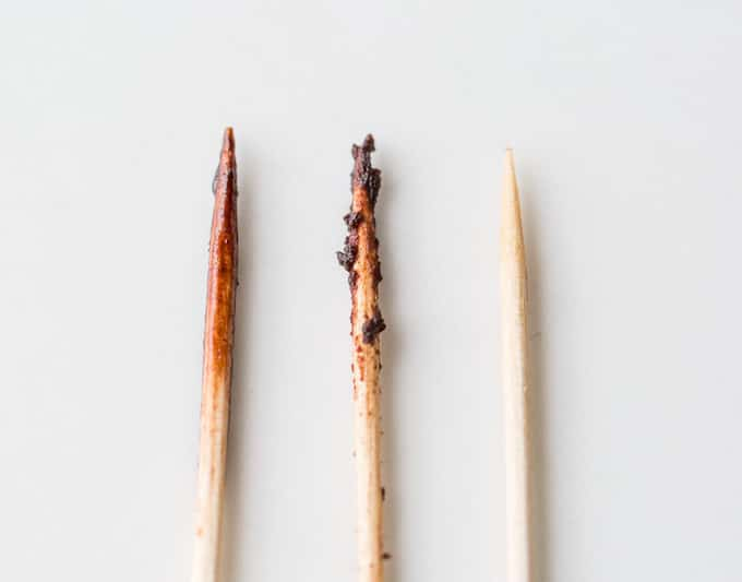 3 toothpicks show how to tell when brownies are done