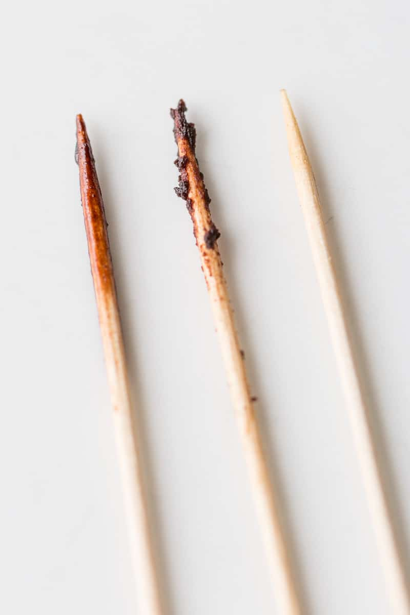 3 toothpicks used to test brownies for doneness
