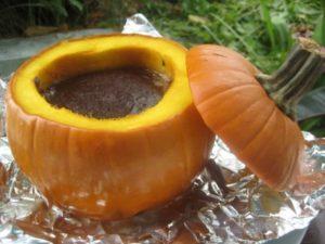 Pumpkin brownies in a pumpkin halloween dessert ideas