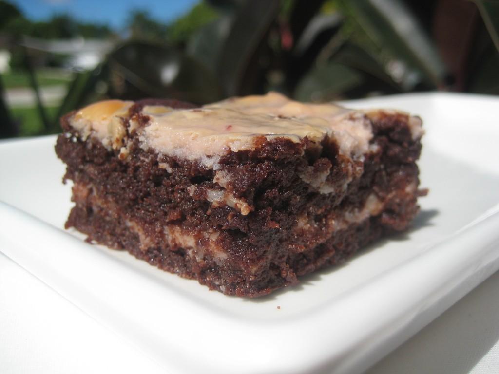 IKEA lingonberry jam and cream cheese cheesecake brownie