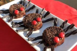 Halloween brownies, decorated as spider brownies for a halloween dessert idea