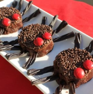 Halloween brownies, decorated as spider brownies