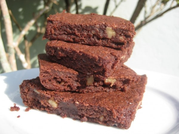 Stack of chewy cocoa brownies
