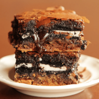 Ultimate chocolate chip cookie and oreo fudge brownie bars