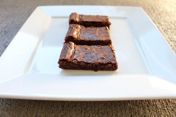 Row of 85% chocolate brownies