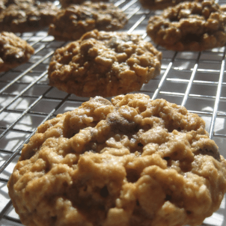 ... for me as a kid plenty of chocolate and pecans and oats in this cookie