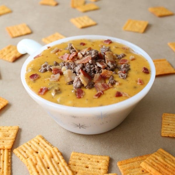Beer Lover's Bacon Cheeseburger Dip Recipe with Cheezits