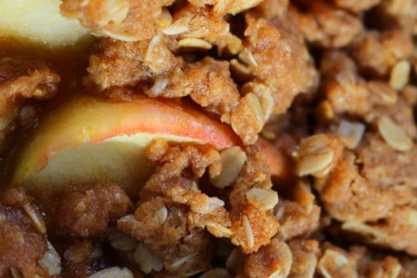 Easy Apple Crumble Recipe with Oats Closeup
