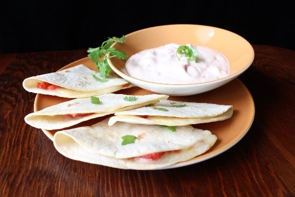 Oven Baked Quesadillas with ROTEL, Mexican Melting Cheese, and Chipotle Adobo Dip