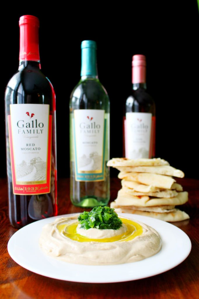Spicy Hummus with Jalapeno Cilantro Salsa Recipe and Gallo wine