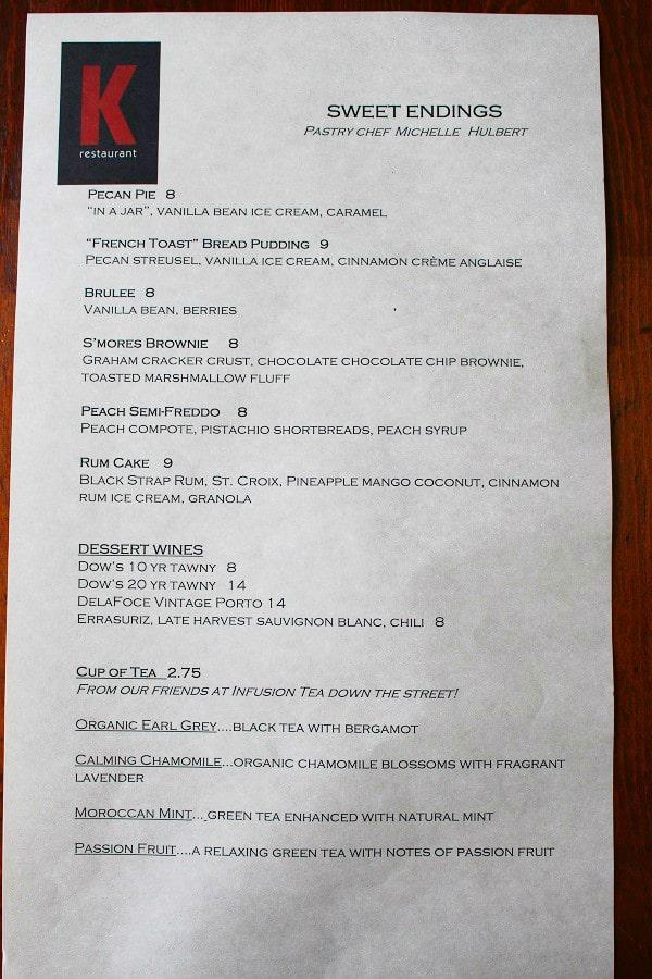 K Restaurant Orlando FL Review Dessert Menu