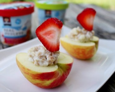 Apple Boats with Quaker Real Medleys Yogurt and Strawberry Sails