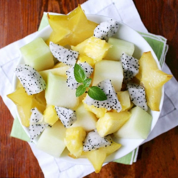Tropical Fruit Salad with Honey Coconut Water Dressing