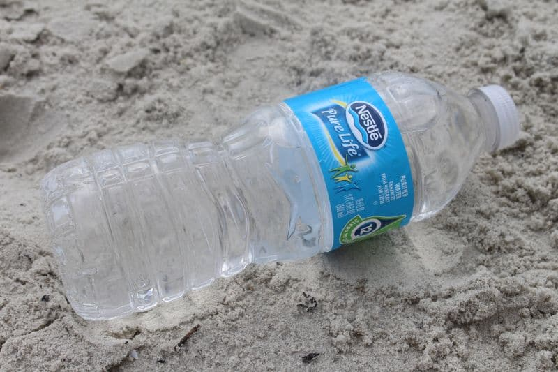 At the Beach with Nestle Pure Life Water On the Sand