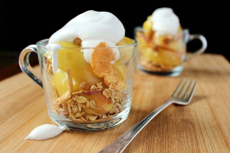 Cooked Apples with Cinnamon Whipped Cream and Granola