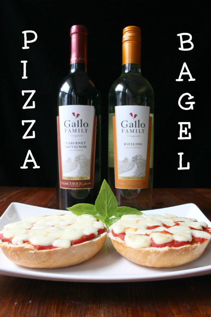 Pizza bagels and Gallo Wine
