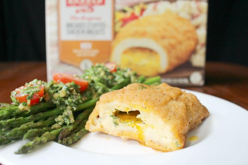Sauteed Asparagus, Arugula Pesto, Barber Foods Chicken Kiev Box