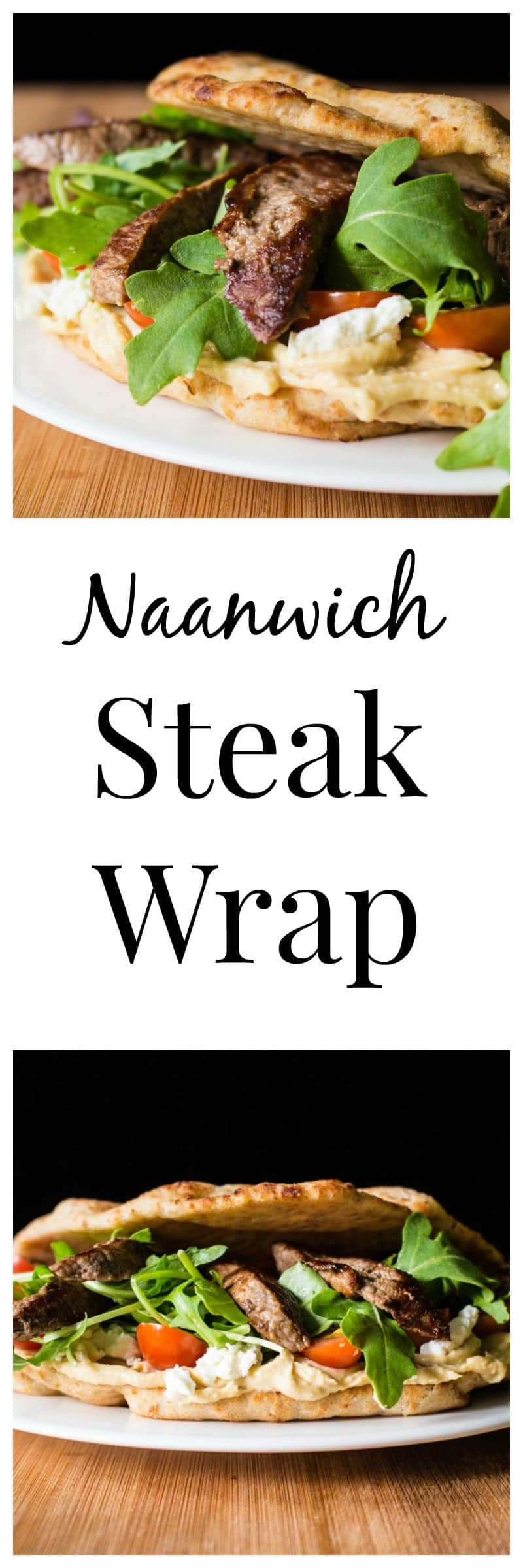 Topped with strips of beef, hummus, grape tomatoes, arugula, and goat cheese, this steak wrap on naan bread makes a satisfying lunch or dinner!