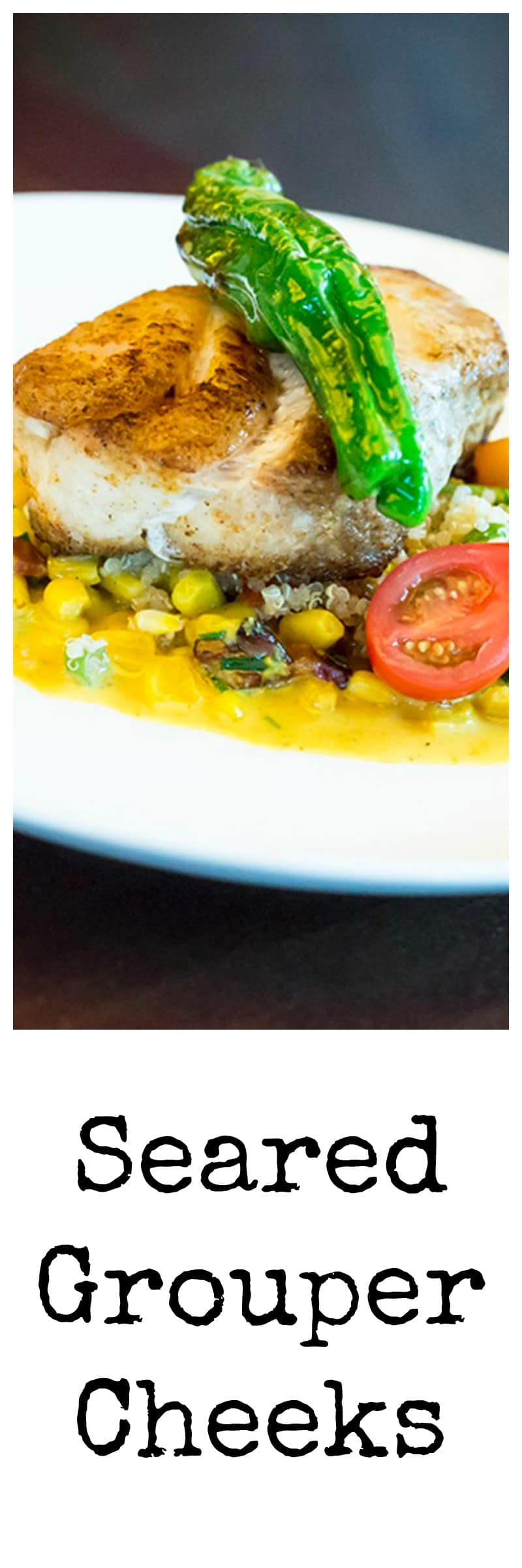 Seared grouper cheeks with grilled creamed corn, blistered shishito peppers, torn cilantro, and crispy tomato petals.