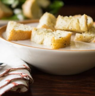 Homemade Croutons with Soup and Salad