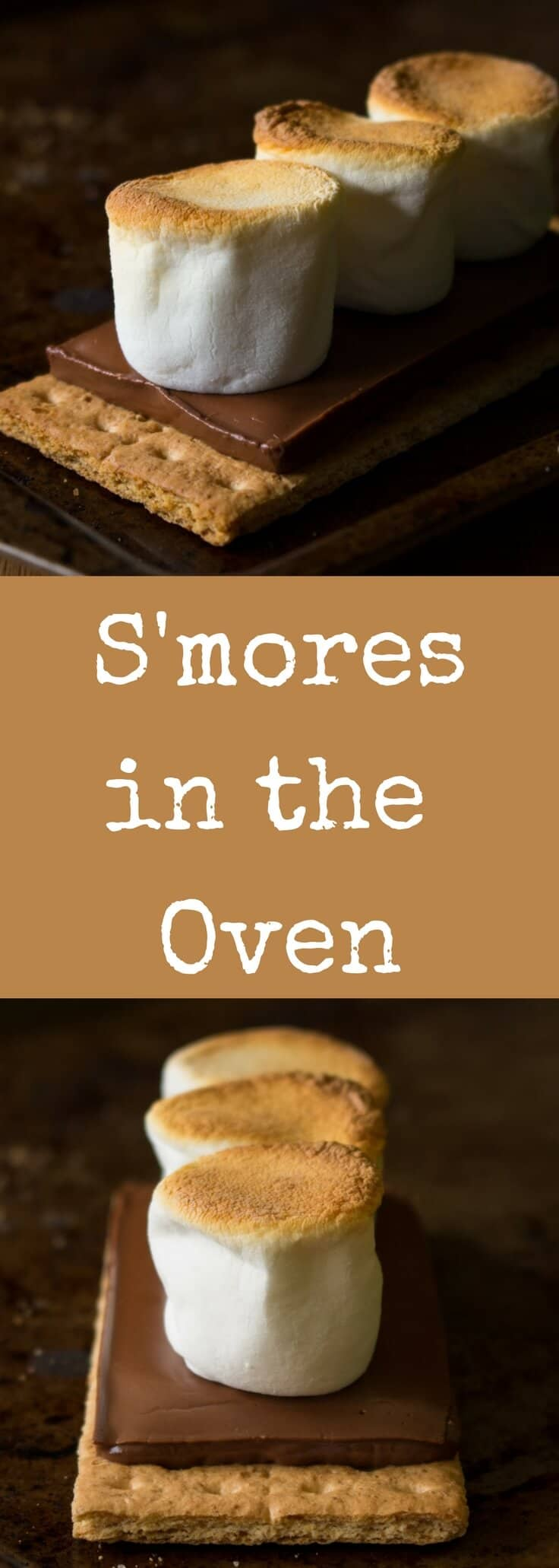 It\'s so easy to make smores in the oven! Make as many or as few as you want in just SECONDS with this super simple recipe. Fast and delicious!