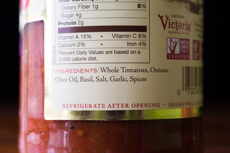 Victoria Fine Foods Pasta Sauce Ingredients