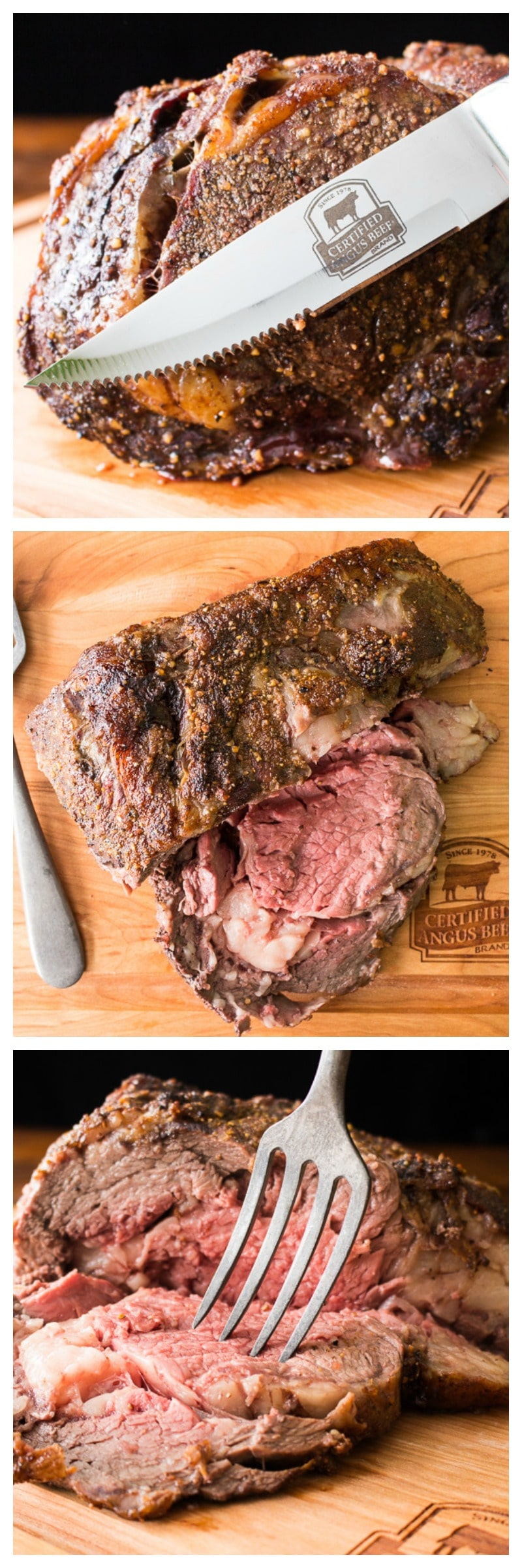 With a flavorful crust on the outside and perfectly tender meat on the inside, this bone-in rib roast is surprisingly easy! Made with only a couple of ingredients and with simple cooking instructions.