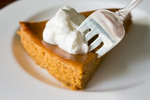 Crustless Pumpkin Pie with Fork