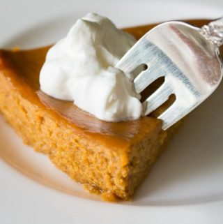 Crustless Pumpkin Pie with Orange Scented Whipped Cream