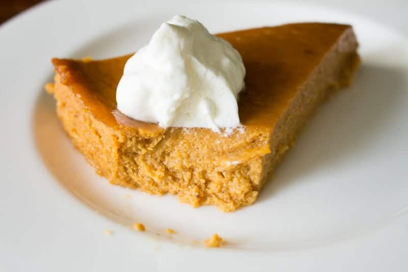 Crustless Pumpkin Pie with Whipped Cream