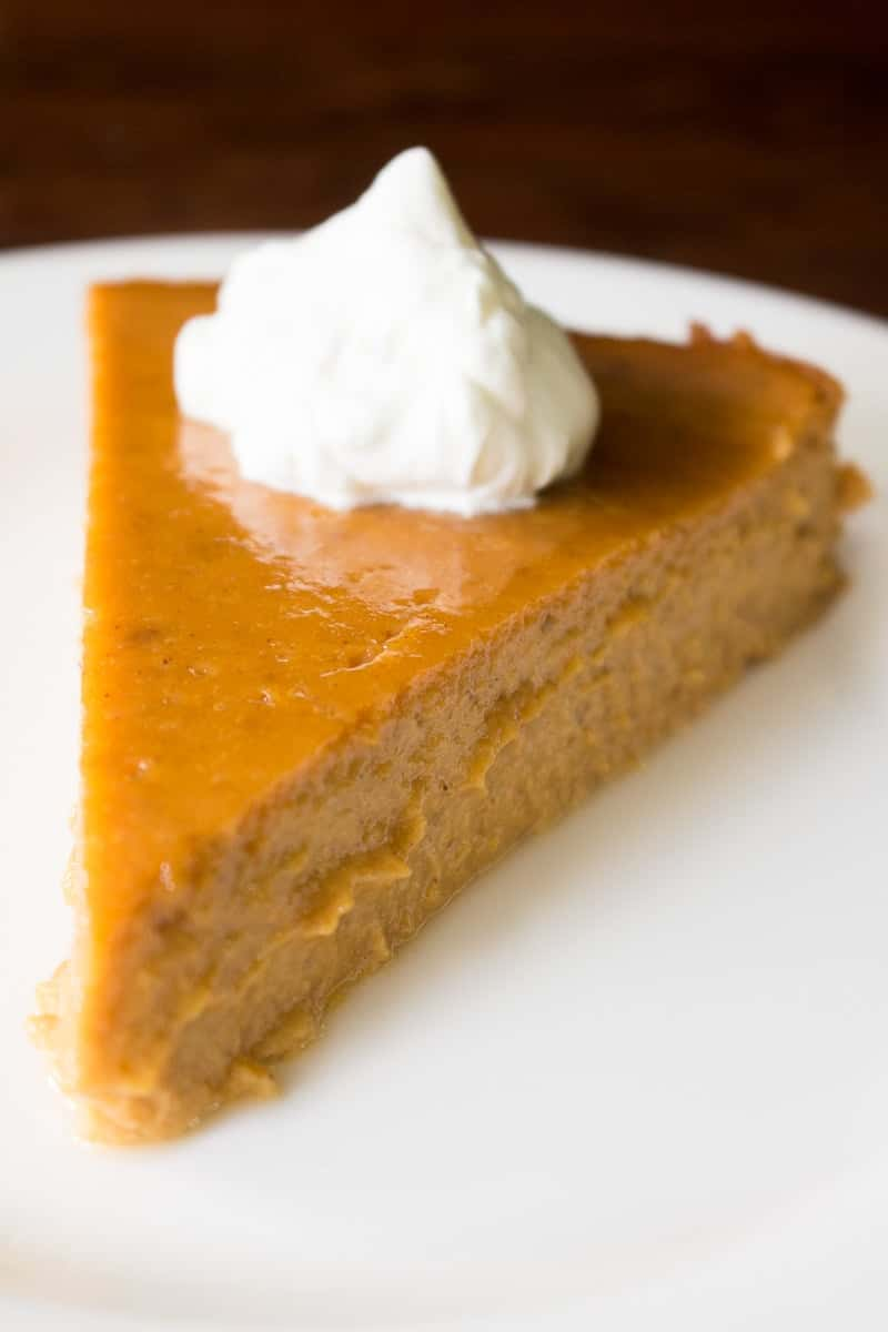 Crustless pumpkin pie has all the deliciousness of traditional pumpkin pie, but with only half the work! Serve with a dollop of citrus whipped cream.