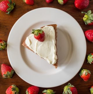 Strawberry Breakfast Cake with Cream Cheese Spread