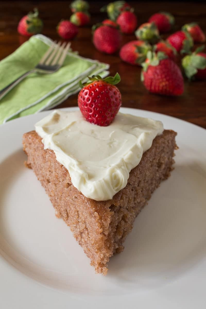 This deep mauve strawberry breakfast cake is bursting with fresh, wholesome ingredients and flavor.  Brighten up your breakfast! | recipeforperfection.com
