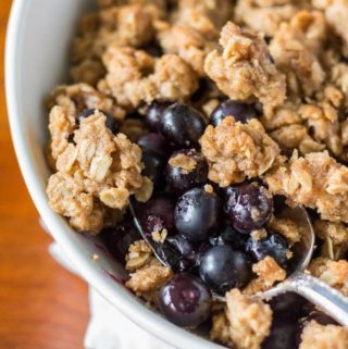 "This blueberry crumble is ""the one."" That's right- the one you've searched for your whole life. Tastes so good you might just marry it."