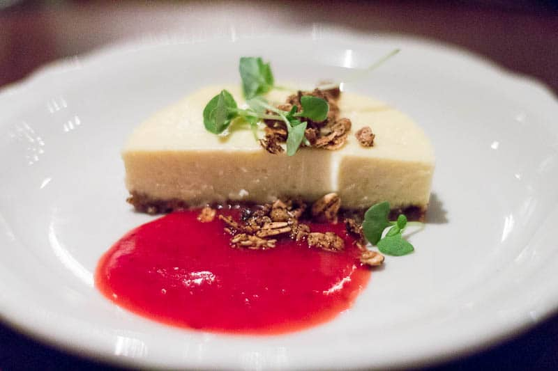 Cheesecake with Strawberry Frangelico Sauce for Appetite for the Arches