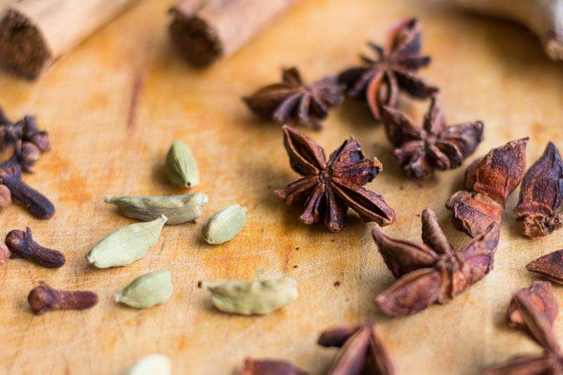 Masala Chai Recipe Spices, Cinnamon, Star Anise, Cardamom, Cloves, Black Pepper