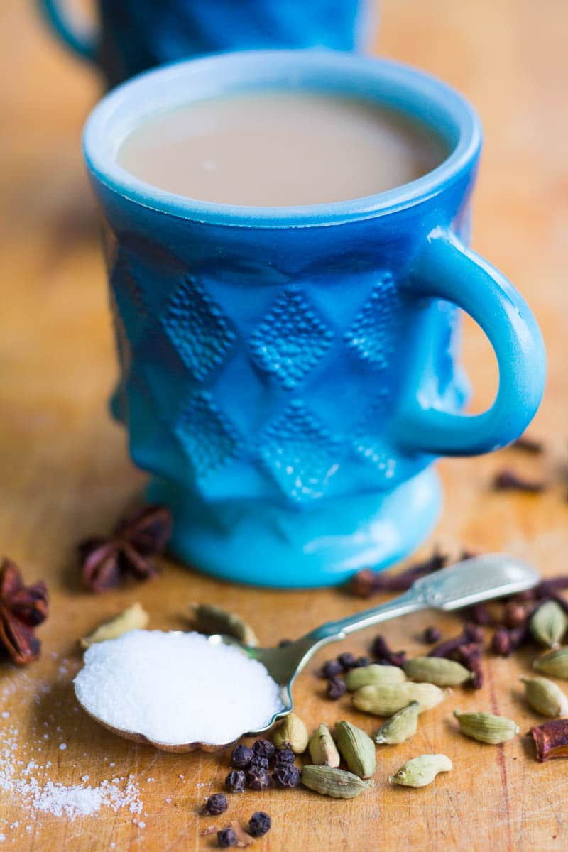 Masala Chai Recipe with Cardamom, cloves, black pepper, and cinnamon