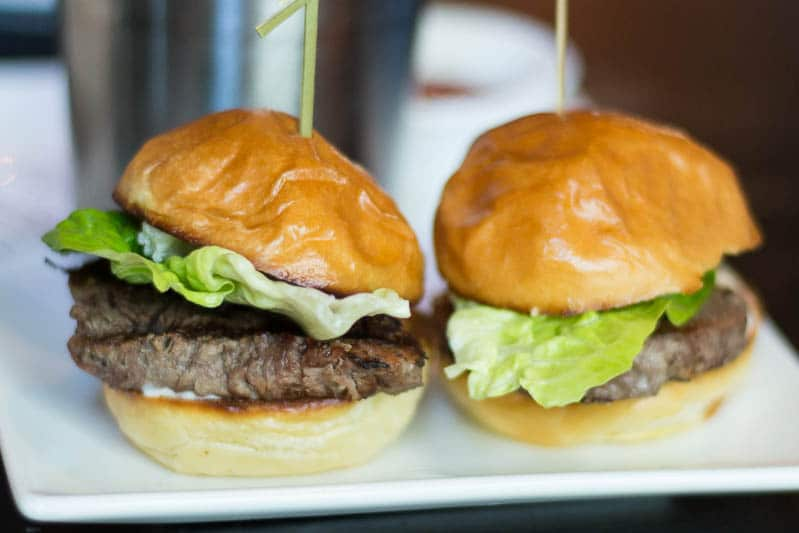 F & D Kitchen and Bar in Lake Mary presents two beef tenderloin sliders as part of their lunch menu.