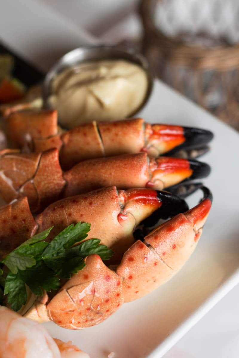 Fulton's Crab House stone crab claws were served chilled with a side of mustard for dipping.