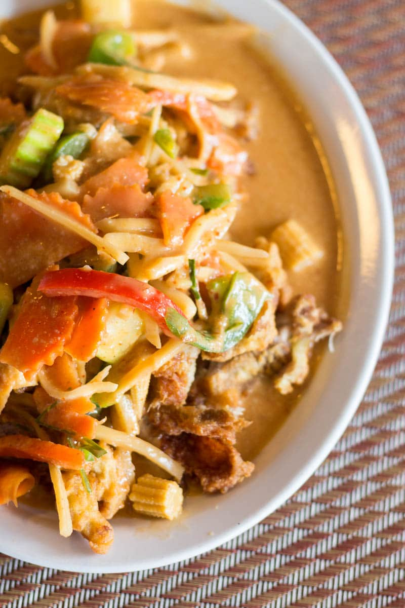 "Thai Delight, a local ""hot"" spot that lives up to its name, is located in Longwood, FL, and serves fresh and flavorful Thai food. This is their Duck Panang Curry."