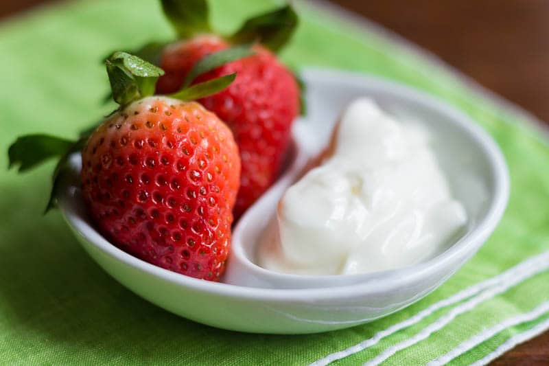 This yogurt fruit dip has only two ingredients! Stir it up in just moments and serve with your favorite fresh fruit.