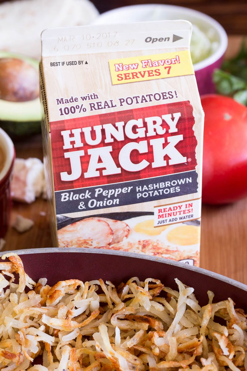 Hungry Jack Black Onion and Pepper Hashbrowns on a hashbrown taco bar