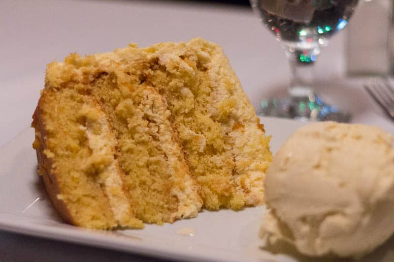 Christner's Orlando offers prime steak, lobster, and more (like this orange cake) in an old school steakhouse setting. Perfect for special occasions!