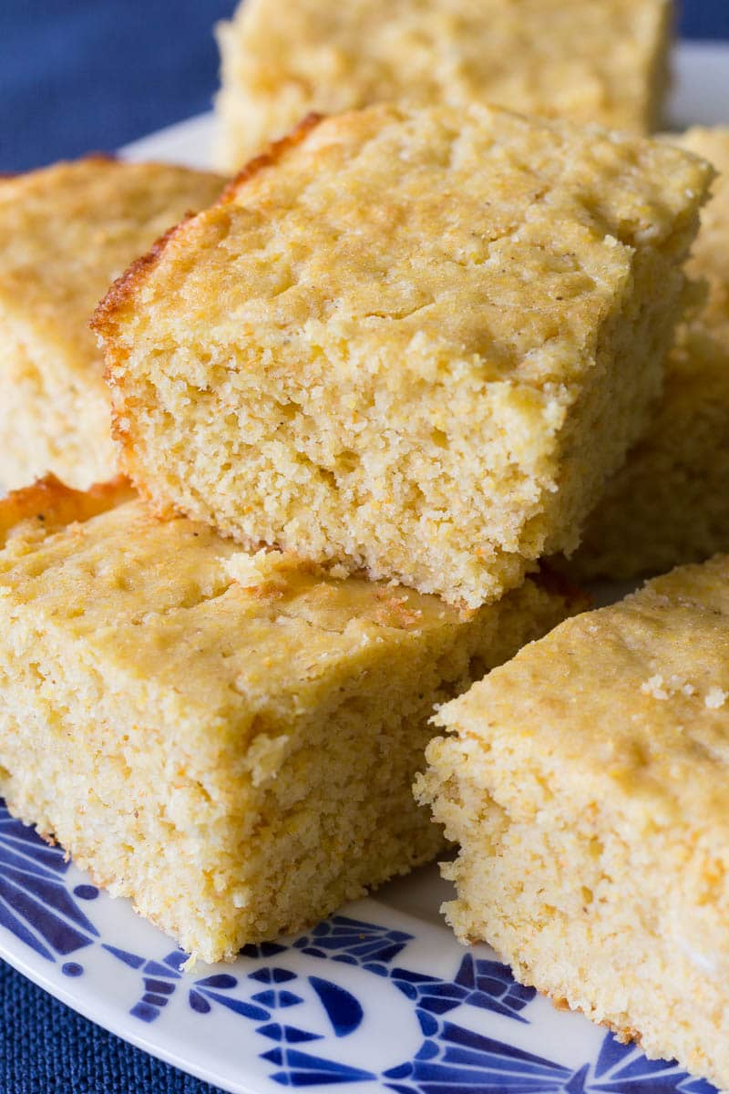 My favorite moist cornbread recipe is made from scratch and oh-so-easy! You'll love the lightly sweet flavor and the soft and moist texture.