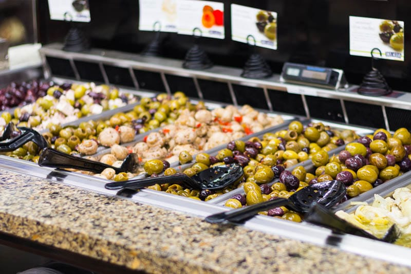 Did you know that Safeway has opened three new stores in Florida? I visited one in Altamonte Springs (near Orlando) to check out the offerings, like this olive bar.