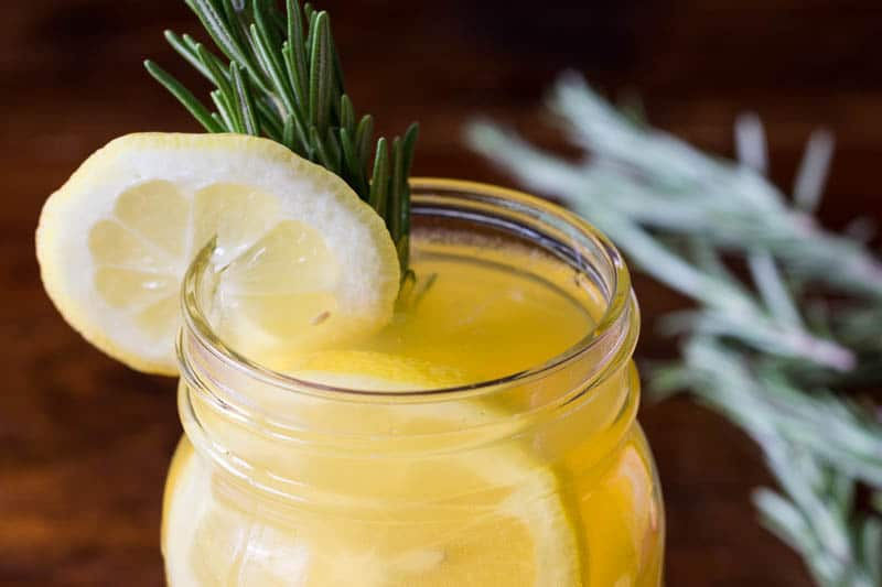 I get my daily vitamin C by making this refreshing vitamin C drink with Emergen-C, tea, fresh lemon juice, and fresh rosemary. It's easy and delicious!