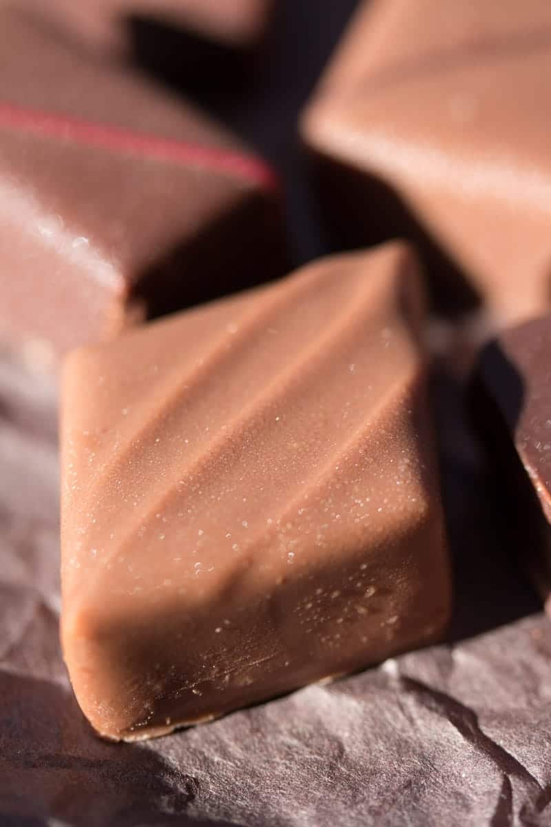 Close up of a piece of chocolate, a good chocolate bonbon