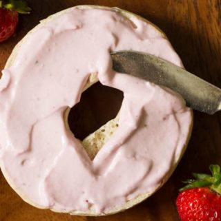 Make your own strawberry flavored cream cheese with this strawberry cream cheese recipe! All you need is three ingredients and a food processor or blender.