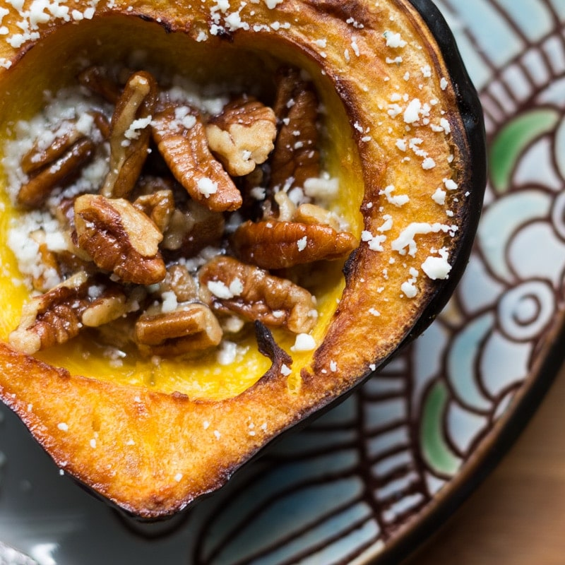 roasted acorn squash doused in maple butter and filled with maple ...