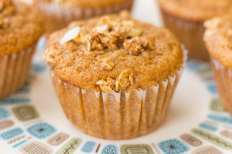 Whole wheat sweet potato muffins with a crunchy granola topping are easy to make even for a beginner. Made in one bowl and ready in minutes!